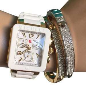 Michele $400 NWT Park Jelly Bean WHITE/ Gold WATCH MWW06L000013