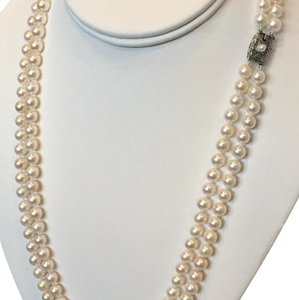 Mikimoto ESTATE Mikimoto Akoya LARGE 7-6.5 MM Double STRAND 22 1/2-21 3/4 IN STERLING SILVER #16003