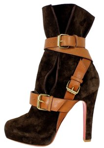 Christian Louboutin Bootie Ankle Guerriere Suede Brown Boots