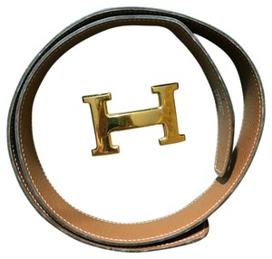 Hermès Black and Cognac Reversible Constance Belt
