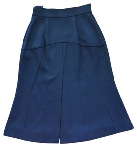 Prada High Waisted A-line Flare Wool Skirt Black