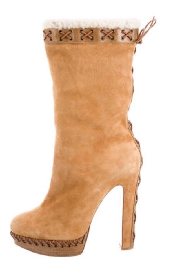 Christian Louboutin Tan Brown Suede Shearling Boots/Booties Step N Roll Platform Boots/Booties Shearling 25950b
