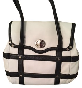 Bodhi Leather Satchel in White and Black