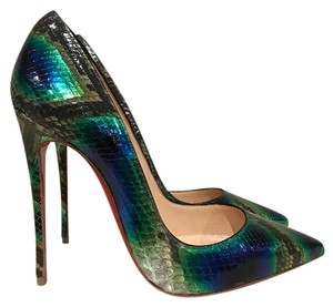 Christian Louboutin Sokate Kate Stiletto Python Snakeskin green Pumps