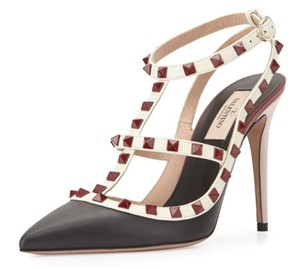 Valentino Rockstud Caged Vintage Colorblock Nero Ivory Red Pumps