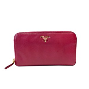 Prada Prada Zip Around Saffiano Wallet