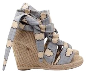 Stella McCartney Print Espadrille Sandal Runway Blue Wedges
