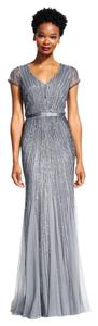 Adrianna Papell Beading Embellished Cap Sleeve Gown Dress