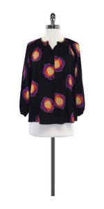 Tucker Black 3/4 Sleeve Circle Print Top