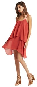 BCBGeneration Slip Sleeveless Tiered Chiffon Flowy Dress