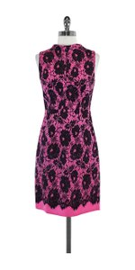 MILLY short dress Hot Pink Black Floral Lace Print on Tradesy