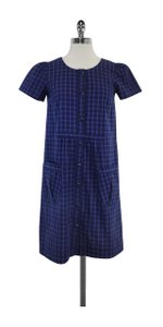 A.P.C. short dress Blue & Red Checkered Cotton on Tradesy