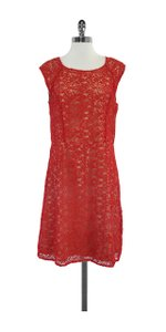 ALICE by Temperley short dress Red & Nude Eyelet Cap Sleeve on Tradesy