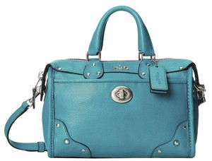 Coach Teal Leather Rhyder Satchel in Blue
