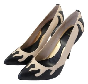 MCQ by Alexander McQueen Leather Black Tan Flames Gold Stud Stiletto Beige Pumps