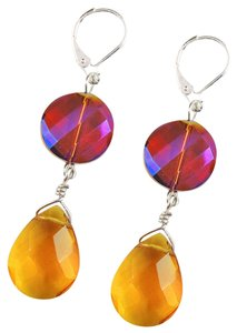 Handmade Sterling silver Iridescent Quartz dangle earrings