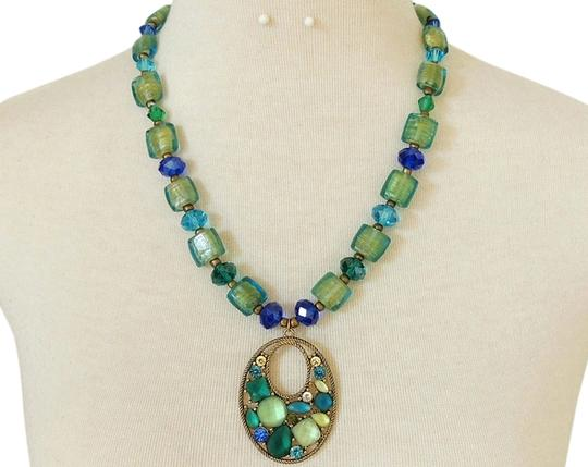 Preload https://item3.tradesy.com/images/green-and-blue-mosaic-stained-glass-pendant-necklace-2035732-0-0.jpg?width=440&height=440