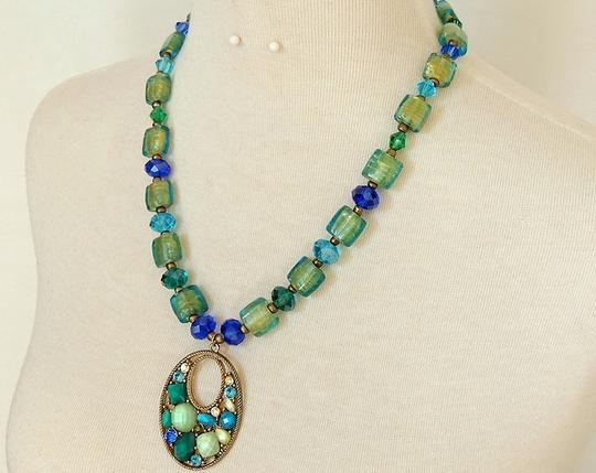 Handmade Mosaic Stained Glass Pendant Necklace