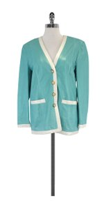 Escada Vintage Aqua & White Leather Jacket