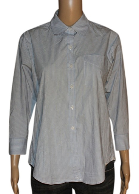 Item - Blue & White Striped Button-down Top Size 4 (S)