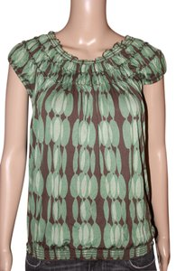 Max Studio Rayon Top Green & Brown