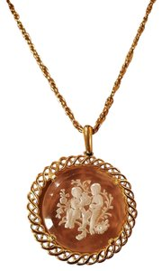 Other Vintage Gold Plated Carved Medallion Pendant Necklace