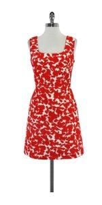 MILLY short dress Red & White Print Cotton Sheath on Tradesy