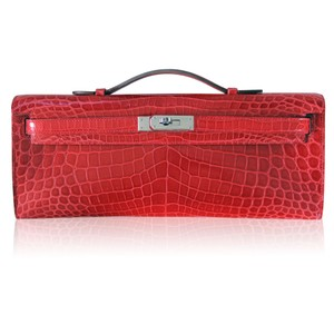 Herms Kelly Crocodile Bouganvillea Clutch
