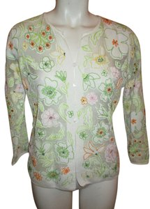 Sigrid Olsen Sheer Embroidered Beaded Cardigan