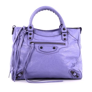 Balenciaga Leather Tote in Purple