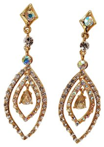 Holiday Special Event Gold Plated Rhinestone Earrings 3