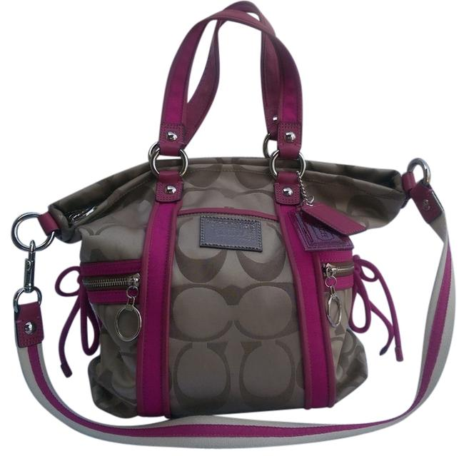 Item - Signature Poppy Brown Style #f13843 Khaki and Pink Satin Shoulder Bag