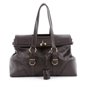 Saint Laurent Leather Satchel in Brown