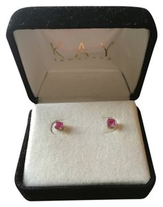 Kay Jewelers Pink Sapphire and white Gold earrings