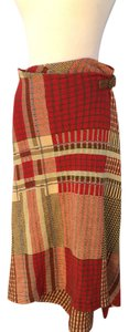 Ralph Lauren Skirt Stunning wraparound skirt. 75% linen 25%cotton.rusty/red color,cream/green/blue. Longest length32