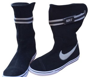 Nike Black suede with grey suede logo. Wear cuffed or up. Wore boot once inside of house. Boots