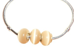 UNKNOWN NEW SET OF 5 TAN~GOLD Colored European Style Murano Lampwork Glass Beads that fit most European Style Bracelets.