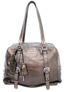 Prada Leather Metallic Copper Bronze Satchel in Rame