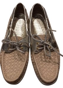 Sperry Tan and Gold Flats