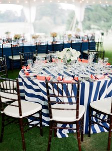 "Navy and White 5 120"" Round Banquet Party Tablecloth"