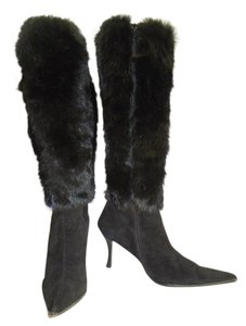 Saks Fifth Avenue Fur Ave Suede Leaather Womens Black Boots