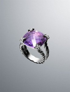 David Yurman David Yurman Cushion On Point Ring with Amethyst and Diamonds