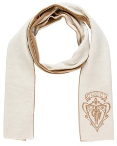 Gucci Brown, ivory wool Gucci interlocking CC logo scarf