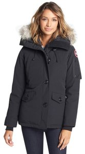 Canada Goose Two-way Zip Storm Placket Rib-knit Collar Duck Down Insulation Genuine Fur Coat