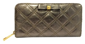 Marc Jacobs Large Quilted Metallic Pewter Leather Zip Wallet with Bow