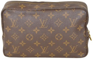Louis Vuitton Monogram Trousse Cosmetic Brown Clutch
