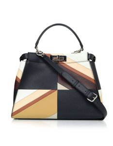Fendi Patchwork Peekaboo Satchel Tote in black