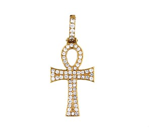 Unique Jewelry 14K Yellow Gold Diamond Cross Pendant 5.40CT