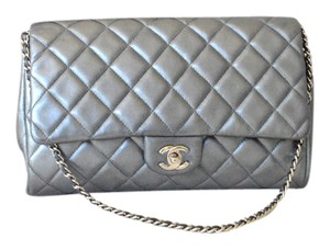 Chanel Quilted Leather Silver Clutch