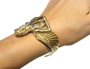 DeWitt's Gorgeous Heavy 14K Gold ANGEL Cuff Bracelet